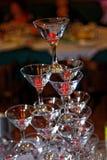 Pyramide en verre de vin Photo stock