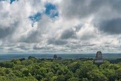 Pyramide et le temple en parc de Tikal Objet guidé au Guatemala avec les temples maya et les ruines de cérémonial Tikal est un an Images stock