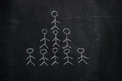 Pyramide humaine d'équipe sur le tableau noir Photo libre de droits