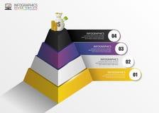 pyramide infographic Konzept Moderne vektorauslegungschablone Vektor Stockfotografie