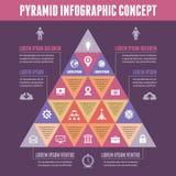Pyramide Infographic-Konzept - Vektor-Entwurf mit Ikonen Lizenzfreies Stockbild