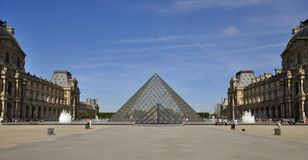 Pyramid Of Louvre Museum In Paris France Stock Photo