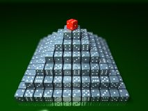 Pyramide made of dice on game table in a casino. 3d illustration Royalty Free Stock Photo