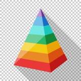 Pyramide posée par couleur dans le style plat sur le fond transparent illustration libre de droits