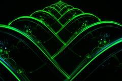 Pyramide rougeoyante onduleuse de vert vert de fractale abstraite Photographie stock libre de droits