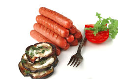 Pyramide of sauages over white Stock Photography
