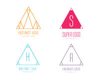 Pyramide shape logo icon vector set. Triangle Royalty Free Stock Photo