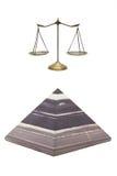 Pyramide und goldene Skala Stockfoto