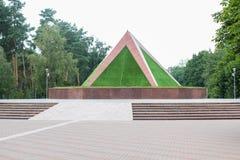 Pyramide verte pyramide vert jaunâtre dans la forêt photos libres de droits