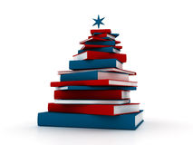 Pyramide von Büchern - abstrakter Weihnachtsbaum Stockfotografie