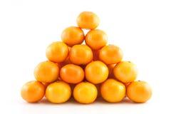 Pyramide von Mandarinen oder von Tangerinen Stockbild