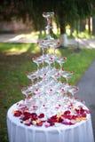Pyramide von Weingläsern mit Wein oder Champagner und rosafarbene Blumenblätter Stockfotografie
