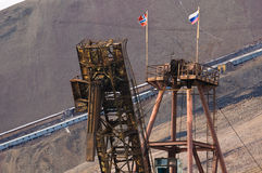 Pyramiden. Mining constructions in the deserted russian mining town Pyramiden Stock Photo