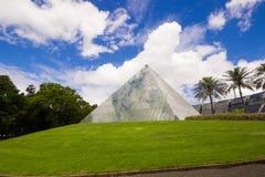 Modern byggnad - pyramid med exponeringsglas och stålsätter facaden, gömma i handflatan coven, Sydney kunglig personbotanisk trädg Royaltyfri Fotografi