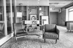 PYRAMIDEN, NORWEGEN - 25. Juni 2015: Innerhalb der Bibliothek an der Goststadt Stockfotografie