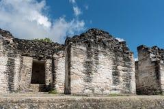 Pyramiden och templet i Tikal parkerar Sightobjekt i Guatemala med Mayan tempel och ceremoniel fördärvar Tikal är ett forntida arkivbild