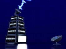 pyramiden screens tv:n Fotografering för Bildbyråer