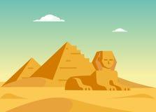 Pyramiden und Sphynx Lizenzfreie Stockfotografie