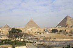 Pyramiden von Giza Große Pyramiden von Ägypten Das 7. Wunder der Welt Alte Megalithe Lizenzfreie Stockbilder