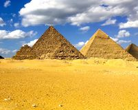 Pyramiden von Giza Große Pyramiden von Ägypten Das 7. Wunder der Welt Alte Megalithe Lizenzfreies Stockfoto