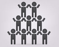 Pyramidenteam Ikone Vektor team Ikonen-Kunstnetz-Logoteamwork, Leute, Einheit Stockfotografie