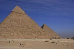 Pyramider av Khafre och Khufu Fotografering för Bildbyråer