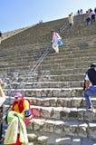 Pyramider på avenyn av dödaen, Teotihuacan, Mexico Arkivfoton
