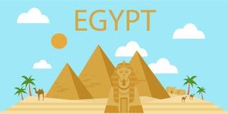 Pyramides égyptiennes dans le désert illustration stock