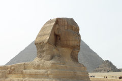 Pyramides dans le désert de l'Egypte et sphinx à Gizeh Photographie stock