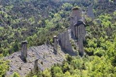 Pyramides de la terre, Hautes-Alpes, France Photos stock