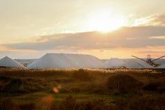 Pyramides of salt mountains at salt mining factory in Spain, Torrevieja Stock Photos