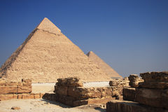 Pyramids. The great ancient Pyramid of Chephren in Giza, near Cairo (Egypt Stock Photo
