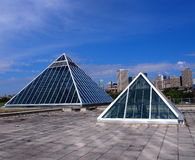 Pyramids Against Edmonton Skyline. In June Stock Images