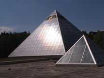 Pyramids Against Edmonton Skyline Stock Photo