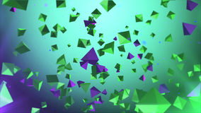 Pyramids in the air with green background. 3d illustration of pyramids in the air with green background Royalty Free Stock Photography