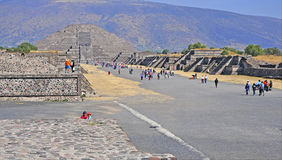 Pyramids on Avenue of the Dead, Teotihuacan, Mexico Stock Image