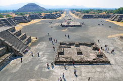 Pyramids on Avenue of the Dead, Teotihuacan, Mexico Royalty Free Stock Photos