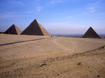 Pyramids of Cheops, Khafre and Mykerinos. Royalty Free Stock Images