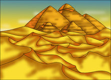 Pyramids in the desert. Color illustration of monumental pyramids of Egypt Royalty Free Stock Image