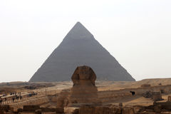 Pyramids In Desert Of Egypt And Sphinx In Giza Stock Images