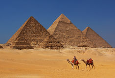 The Pyramids in Egypt. The Pyramids at Giza in Egypt royalty free stock photo