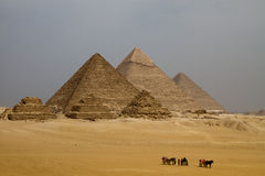 Pyramids of Egypt. The great pyramids of Egypt, panorama view royalty free stock photo
