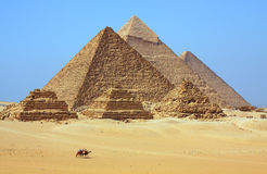 The pyramids in Egypt. The pyramids at Giza in Egypt Stock Photography