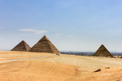 Pyramids in Egypt with the city of Cairo in the background Stock Images