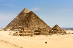 Pyramids in Egypt with the city of Cairo in the background Royalty Free Stock Image