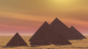 Pyramids in Egypt - 3D render stock video footage