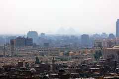 Giza pyramids in egypt. Giza pyramids from high mosque in cairo in egypt Stock Photos