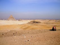 The pyramids in Egypt, during the sand storm was about to begin photographing Royalty Free Stock Image