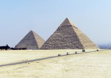 Pyramids of Egypt (two). Close view of Gisa Pyramids (Giseh) around- 2500 years (B.C) overlooking Cairo royalty free stock photo
