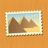 Pyramids on Egyptian stamp Royalty Free Stock Photo